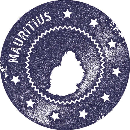 Mauritius map vintage stamp. Retro style handmade label, badge or element for travel souvenirs. Deep purple rubber stamp with island map silhouette. Vector illustration.