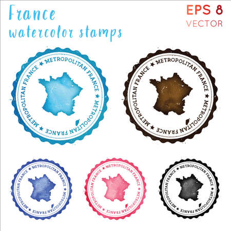 France stamp. Watercolor country stamp with map. Vector illustration.