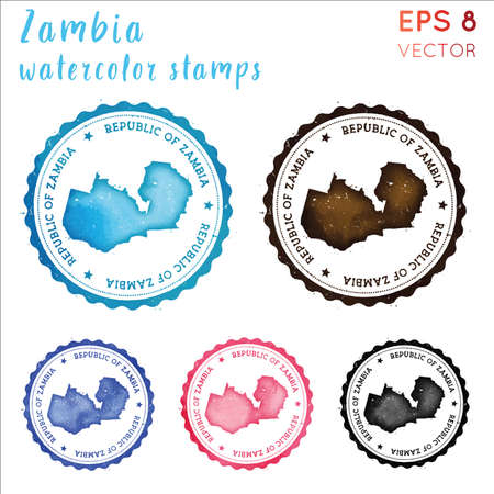 Zambia stamp. Watercolor country stamp with map. Vector illustration.