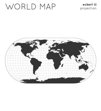 World map. Globe in eckert iii projection, with graticule lines style. Modern vector illustration.