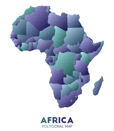 Africa Map. actual low poly style continent map. Brilliant vector illustration.