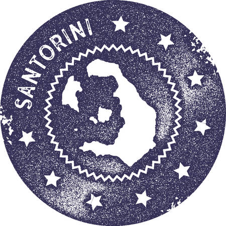 Santorini map vintage stamp. Retro style handmade label, badge or element for travel souvenirs. Deep purple rubber stamp with island map silhouette. Vector illustration.