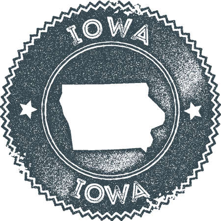 Iowa map vintage stamp. Retro style handmade label, badge or element for travel souvenirs. Dark blue rubber stamp with us state map silhouette. Vector illustration.  イラスト・ベクター素材