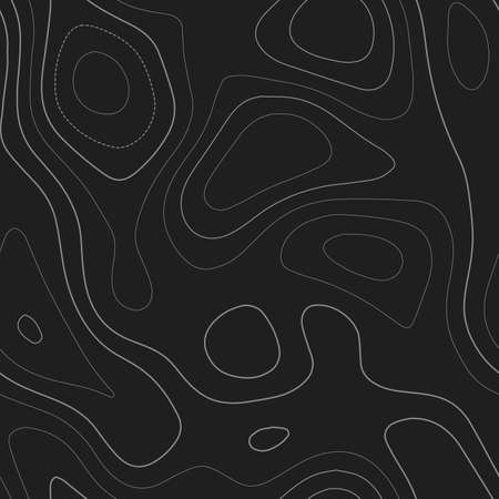 Terrain topography. Admirable topography map. Dark seamless design, divine tileable isolines pattern. Vector illustration. Ilustração