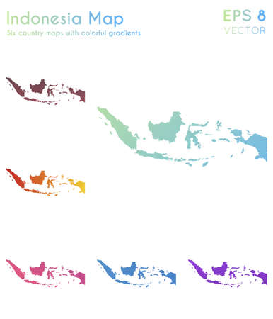 Map of Indonesia with beautiful gradients. Adorable set of Indonesia maps. Pleasing vector illustration.