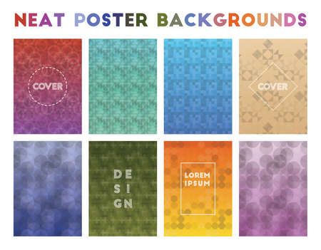 Neat Poster Backgrounds. Adorable geometric patterns. Favorable background. Vector illustration.