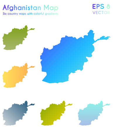 Map of Afghanistan with beautiful gradients. Actual set of Afghanistan maps. Adorable vector illustration. Illusztráció