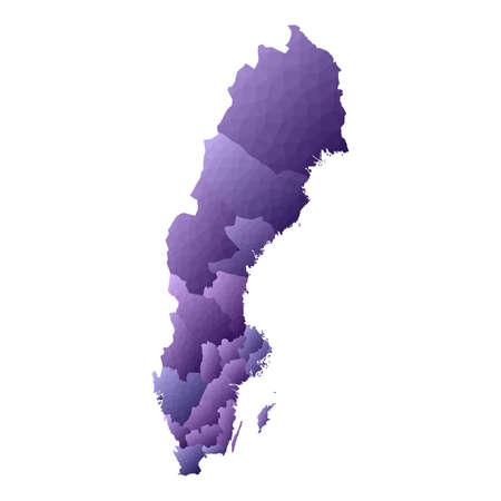 Sweden map. Geometric style country outline. Indelible violet vector illustration.