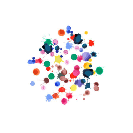 Watercolor confetti on white background. Rainbow colored blobs square explosion. Colorful bright hand painted illustration. Happy celebration party background. Likable vector illustration.