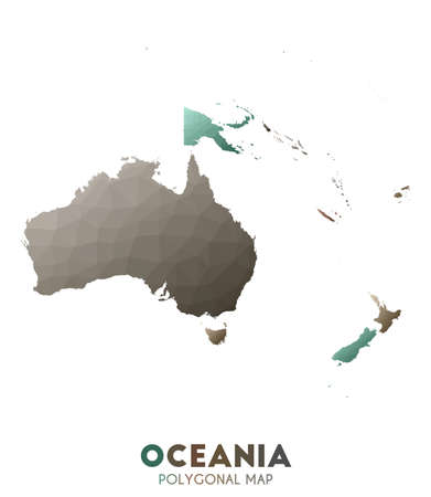 Oceania Map. actual low poly style continent map. Tempting vector illustration.