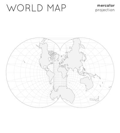 World map. Globe in eisenlohr projection, with graticule lines style. Outline vector illustration. Illustration
