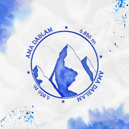 Ama Dablam. Round stamp blue vector insignia. Ama Dablam in Himalayas, Nepal outdoor adventure illustration. Climbing, trekking, hiking, mountaineering and other extreme activities template.