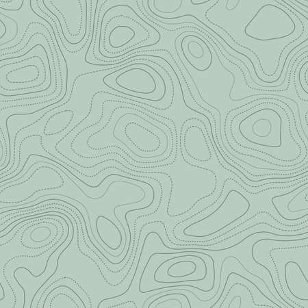 Contour lines. Actual topographic map in green tones, seamless design, energetic tileable pattern. Vector illustration.