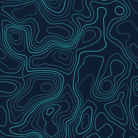 Topographic map background. Actual topography map. Futuristic seamless design, enchanting tileable isolines pattern. Vector illustration.