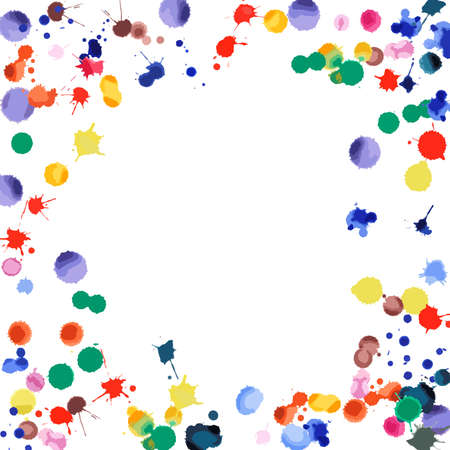 Watercolor confetti on white background. Rainbow colored blobs square vignette. Colorful bright hand painted illustration. Happy celebration party background. Exceptional vector illustration.