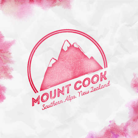 Cook ound mountain red vector insignia. Cook in Southern Alps, New Zealand outdoor adventure illustration. Climbing, trekking, hiking, mountaineering and other extreme activities  template.
