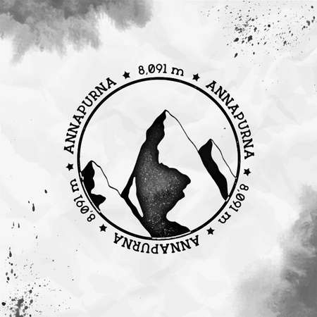 Annapurna   Round stamp black vector insignia. Annapurna in Himalayas, Nepal outdoor adventure illustration. Climbing, trekking, hiking, mountaineering and other extreme activities   template. Illustration