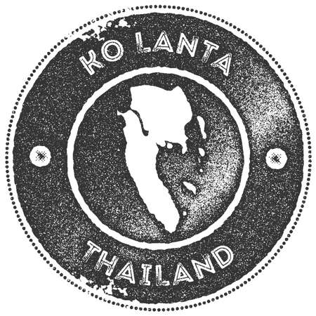 Ko Lanta map vintage stamp. Retro style handmade label, badge or element for travel souvenirs. Dark grey rubber stamp with island map silhouette. Vector illustration. Illustration