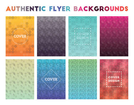 Authentic Flyer Backgrounds. Adorable geometric patterns. Enchanting background. Vector illustration. Illustration