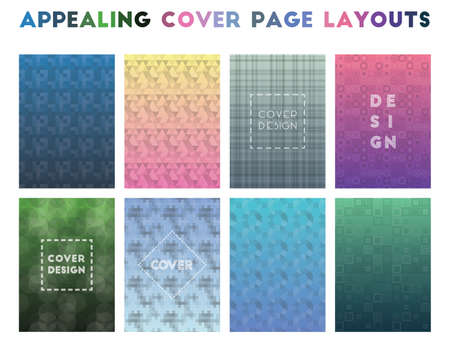 Appealing Cover Page Layouts. Alluring geometric patterns. Impressive background. Vector illustration.