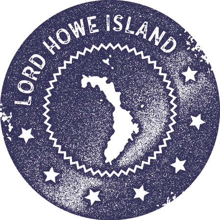 Lord Howe Island map vintage stamp. Retro style handmade label, badge or element for travel souvenirs. Deep purple rubber stamp with island map silhouette. Vector illustration.
