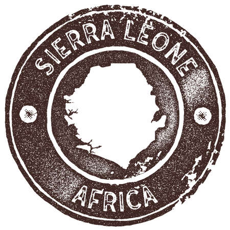 Sierra Leone map vintage stamp. Retro style handmade label, badge or element for travel souvenirs. Brown rubber stamp with country map silhouette. Vector illustration.