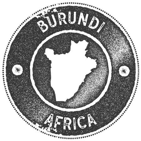 Burundi map vintage stamp. Retro style handmade label, badge or element for travel souvenirs. Dark grey rubber stamp with country map silhouette. Vector illustration.