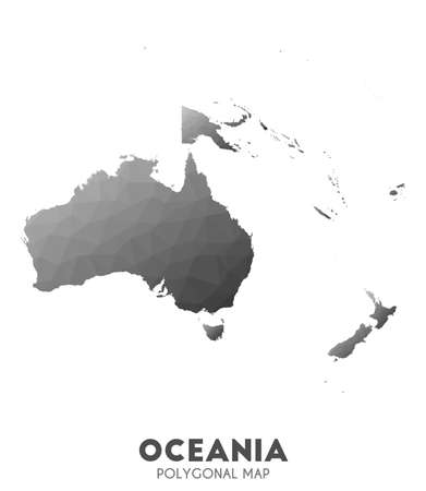 Oceania Map. actual low poly style continent map. Stunning vector illustration.