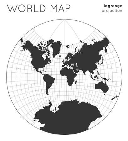 Mapa del mundo. Globo en proyección lagrange, con estilo de líneas cuadriculadas. Ilustración de vector moderno.