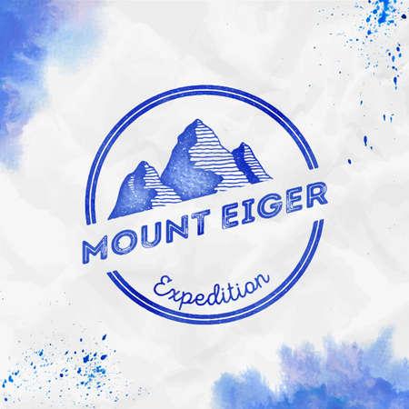 Insigne de vecteur bleu d'expédition de la montagne Eiger Round. Eiger dans les Alpes, Suisse illustration d'aventure en plein air. Vecteurs
