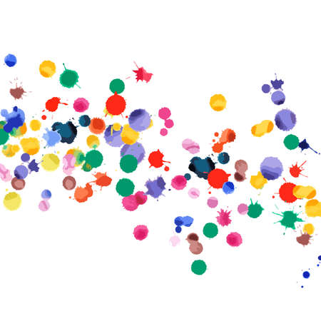 Watercolor confetti on white background. Rainbow colored blobs square falling rain. Colorful bright hand painted illustration. Happy celebration party background. Nice vector illustration.