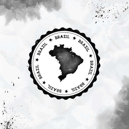 Brazil watercolor round rubber stamp with country map. Black Brazil passport stamp with circular text and stars, vector illustration. Standard-Bild - 122240801