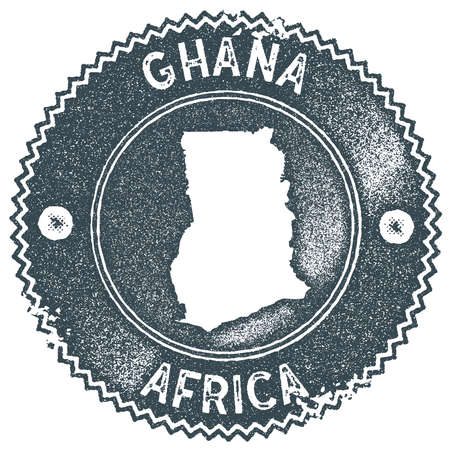 Ghana map vintage stamp. Retro style handmade label, badge or element for travel souvenirs. Dark blue rubber stamp with country map silhouette. Vector illustration.
