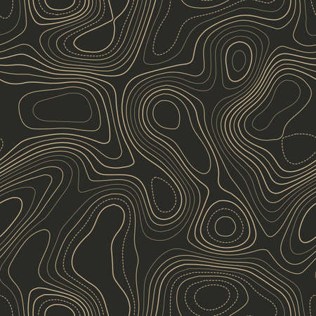 Terrain topography. Actual topography map. Seamless design. Unequaled tileable isolines pattern, vector illustration. Ilustrace