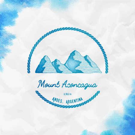 Mountain Aconcagua  Round trekking turquoise vector insignia. Aconcagua in Andes, Argentina outdoor adventure illustration.