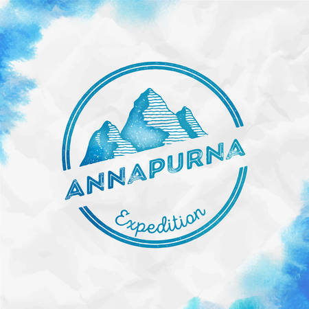Mountain Annapurna  Round expedition turquoise vector insignia. Annapurna in Himalayas, Nepal outdoor adventure illustration. 矢量图像
