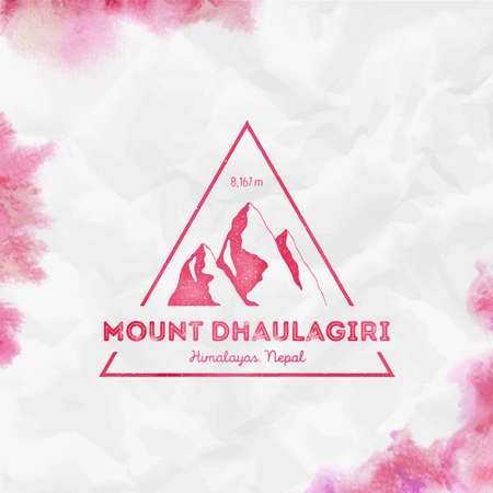 Dhaulagiri  Triangular mountain red vector insignia. Dhaulagiri in Himalayas, Nepal outdoor adventure illustration.