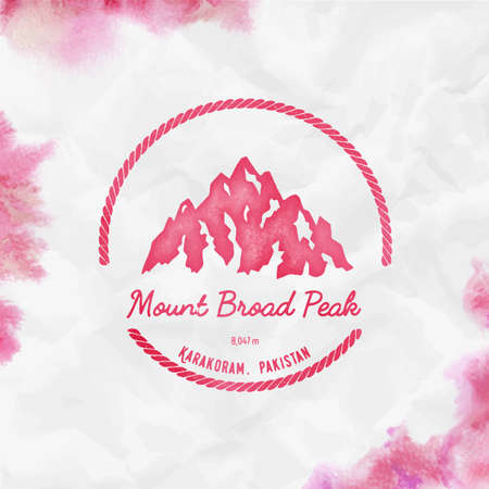 Mountain Broad Peak Round hiking red vector insignia. Broad Peak in Karakoram, Pakistan outdoor adventure illustration. Illustration