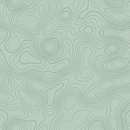 Topographic contours. Actual topographic map in green tones, seamless design, favorable tileable pattern. Vector illustration.