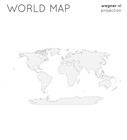 World map. Globe in wagner vi projection, plain style. Outline vector illustration.