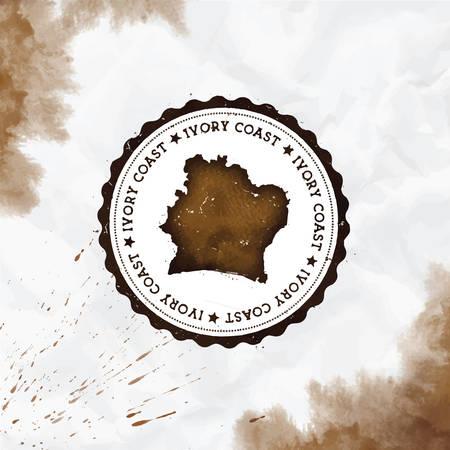 Elfenbeinküste Aquarell runder Stempel mit Landkarte. Sepia Cote d'Ivoire Passstempel mit kreisförmigem Text und Sternen, Vektorillustration.
