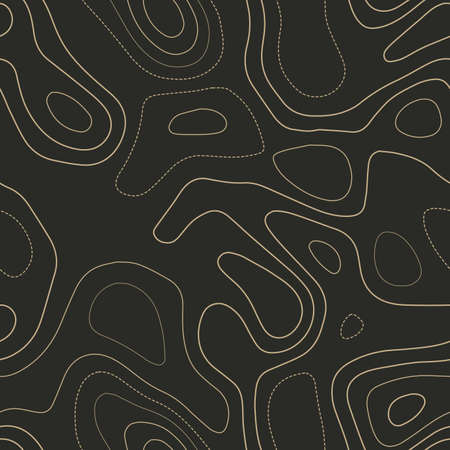 Topographic contours. Actual topography map. Seamless design. Majestic tileable isolines pattern, vector illustration. Ilustração