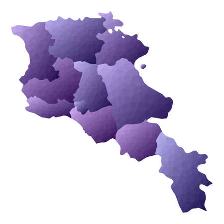 Armenia map. Geometric style country outline. Astonishing violet vector illustration.