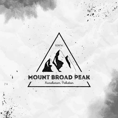 Mountain Broad Peak  Triangular mountain black vector insignia. Broad Peak in Karakoram, Pakistan outdoor adventure illustration. 일러스트