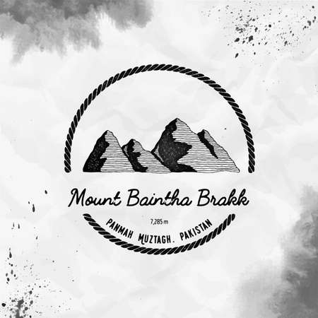 Mountain Baintha Brakk  ound trekking black vector insignia. Baintha Brakk in Panmah Muztagh, Pakistan outdoor adventure illustration.