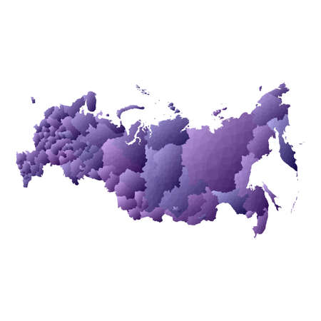 Russia map. Geometric style country outline. Fair violet vector illustration.