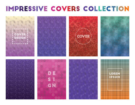 Impressive Covers Collection. Adorable geometric patterns. Valuable background. Vector illustration.