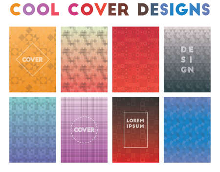 Cool Cover Designs. Alluring geometric patterns. Quaint background. Vector illustration. Ilustrace
