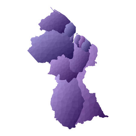 Guyana map. Geometric style country outline. Outstanding violet vector illustration.