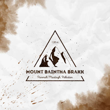 Baintha Brakk Triangular mountain sepia vector insignia. Baintha Brakk in Panmah Muztagh, Pakistan outdoor adventure illustration.